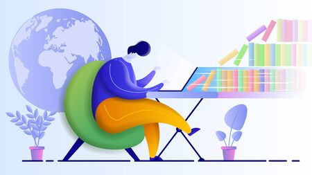 Flat vector illustration depicting a man studying at home. Online education design concept.