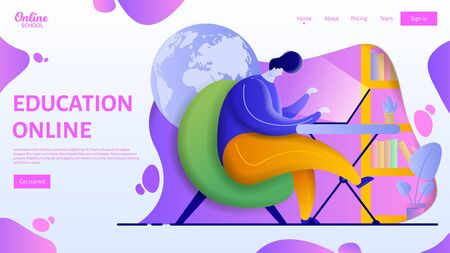 Online education landing page template. Flat vector of a man studying at home remotely.