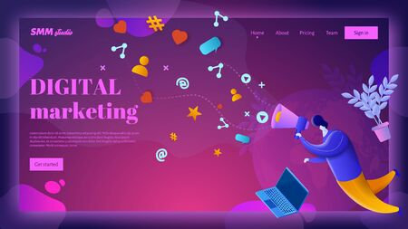 Digital marketing vector landing page header template.. A man with a big mouthpiece engages in brand promotion on social networks.