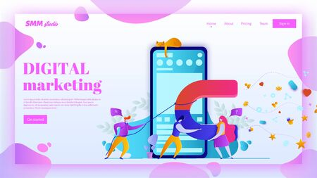 Man and woman with big magnet get conversions from social networks. SMM landing page header concept. Ilustração