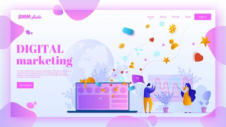 SMM landing page header concept. Social media marketing web page banner in flat style.