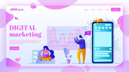 SMM landing page header concept. Social media marketing vector illustration in flat style. Web page banner. Ilustração