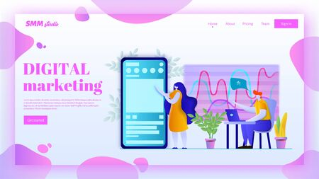 SMM landing page header concept. Digital marketing vector illustration in flat style. Web page banner template. Ilustração