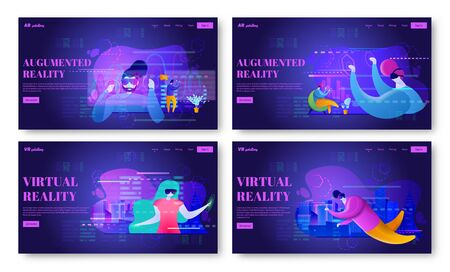 VR and AR web page design templates. Set of vector landing page headers.