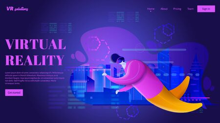 Man in VR headset is flying in virtual reality world. Futuristic neon city. Vector illustration. VR landing page concept.