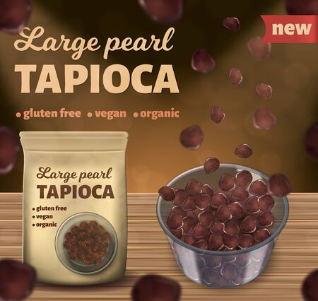 Realistic vector illustration of brown tapioca pearls in the package and in the bowl.