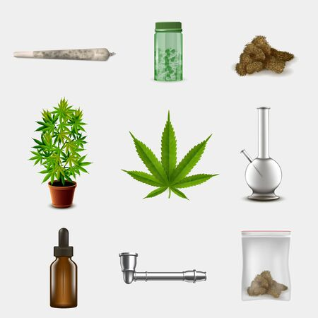 Medical marijuana objects set. Realistic vector illustration. 免版税图像 - 141283491