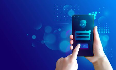 Secure user authentication with mobile phone. Data security. Authorization form and password check. Application login verification. 免版税图像 - 143611122