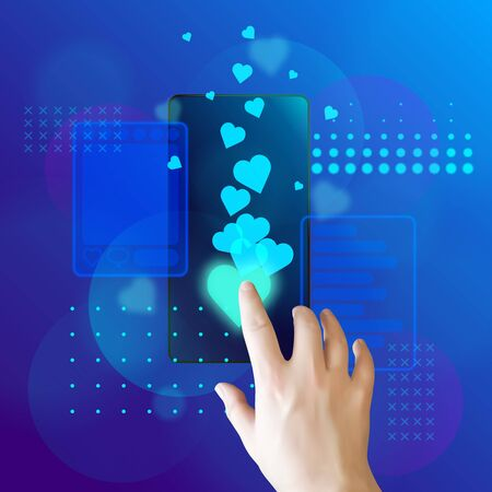 Hand taps heart on a smartphone screen. The concept of interaction on social networks. Vector illustration 矢量图像