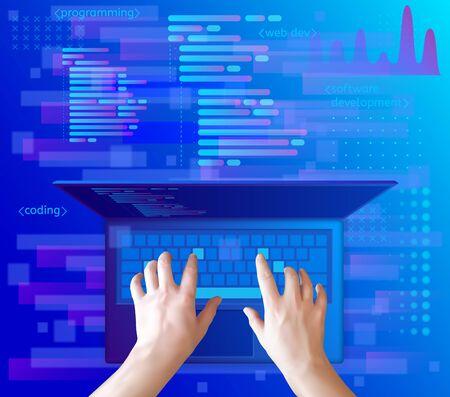 Developer working on keyboard of laptop. Programming and coding, website development.