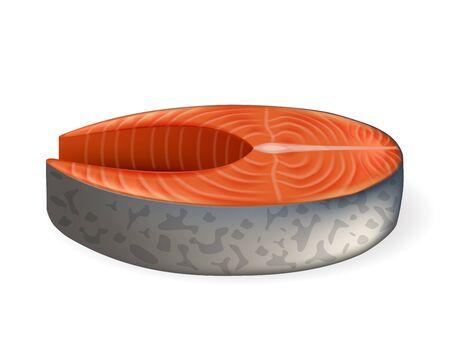 Salmon steak realistic vector illustration. Slice of salmon fish