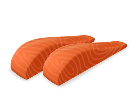 Two slices of salmon realistic vector illustration. 矢量图像