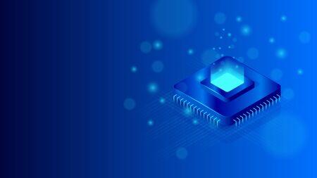 Central processor unit isometric illustration. Vector CPU chip.