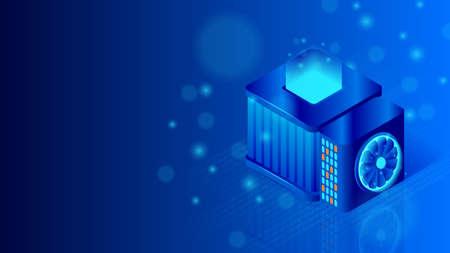 Supercomputer server room. Big data processing, data search concept. Isometric vector illustration