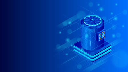 Supercomputer isometric vector illustration. Big data processing,