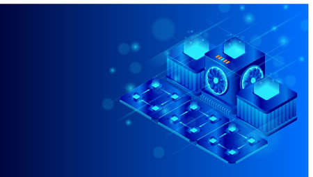 Supercomputer server with central processing units isometric vector illustration. Big data processing and cloud computing. Vector CPU chip. Microprocessor with lights on the blue background.
