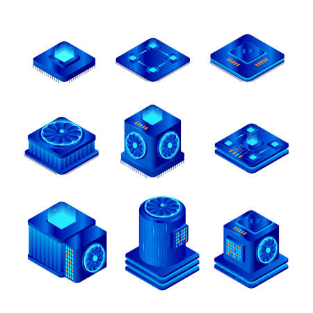 Computer chip vector illustration set. Isometric CPU chip isolated on white background. Central processor unit