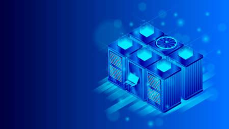 Isometric server room concept. Cloud data storage.