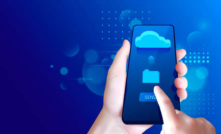 Hand with smartphone. Send a file from smartphone to the cloud storage.
