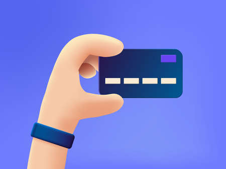 A Hand with credit card cartoon vector illustration.