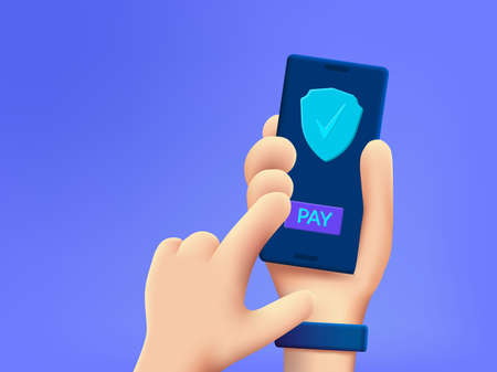 Cartoon 3d hand holding mobile phone with secure payment button.
