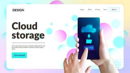 Cloud storage web site template. Landing page header.