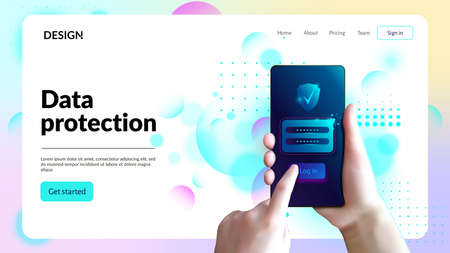 Data protection web site template. Landing page header.
