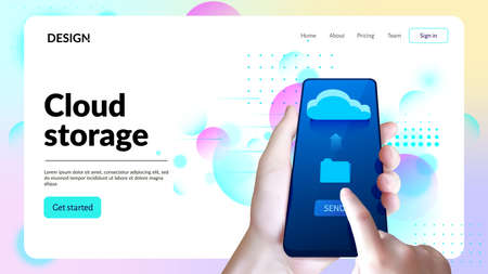 Cloud storage web site template. Landing page header. Hand with smartphone.