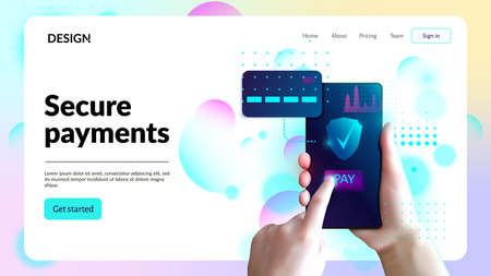Secure payments web site template. Landing page header. Internet banking concept.