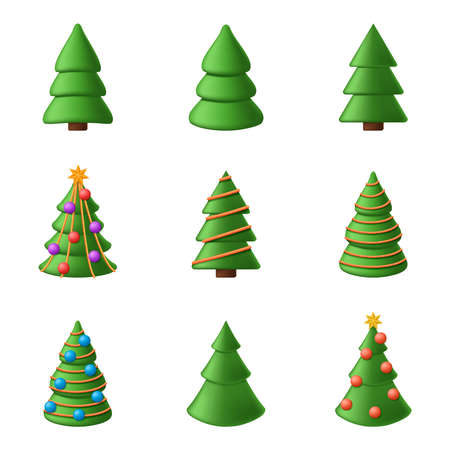 A collection of 3d cartoon christmas trees. Set of vector illustrations of christmas tree