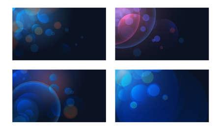 Set of dark blue shining bokeh illustration. Vector background