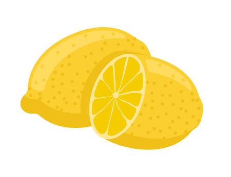 Lemon flat vector illustration. Fresh ripe lemon icon.