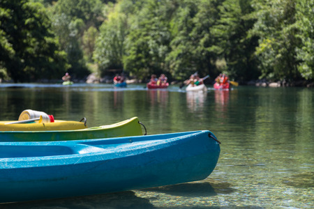 riverside county: Group of People Canoeing and Kayaking on River in Forest during Summer Holiday during Summer Holiday
