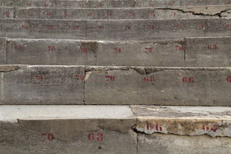 theatrics: Numbered Stone Row of Seats in Ancient Theatre