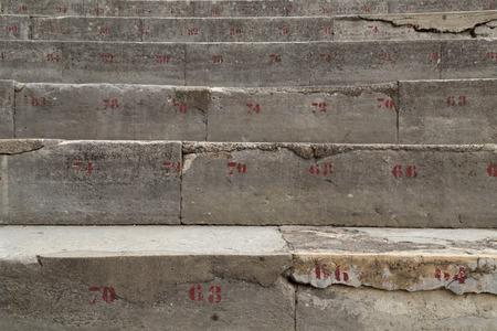 teatro antiguo: Numerado Fila Piedra de Esca�os en Antigua Teatro