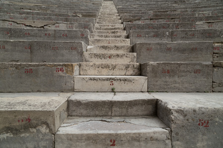 theatrics: Ancient Theater Stairs and Row of Seats. Orange, France