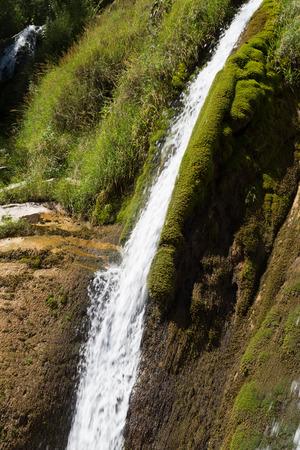 Natural Waterfalls of Navacelles, Moss and Grass photo