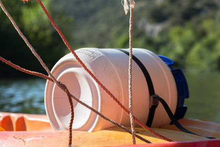 cayak: Water Resistant Barrel during River Canoeing and Kayaking and Ropes