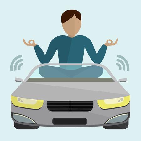 それを単純なテキスト自動操縦と水色の背景にドライバーなし移動の乗客が付いている車  イラスト・ベクター素材