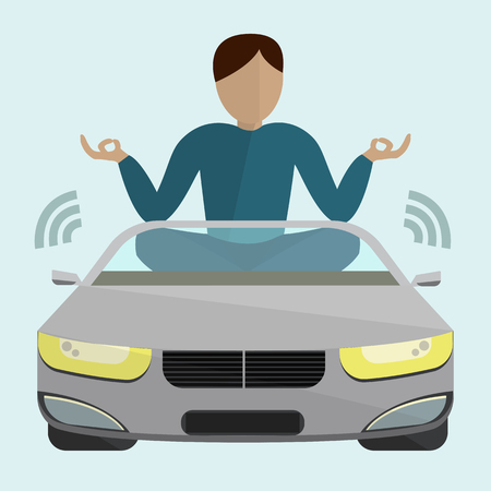 Car with passenger in it moving without a driver on light blue background with simple text Autopilot Ilustrace