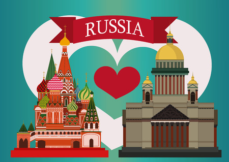 moscow city: Vector illustration of Isaacs Cathedral and St. Basils Cathedral. With simple text Russia.Blue background with  heart coloured like a Russian flag.Flat Design.