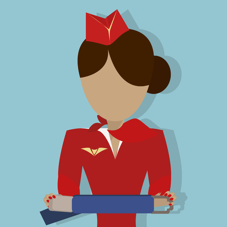 wear mask: The Stewardess shows how to use the safety seat belt. Vector illustrationon on  blue background. Illustration
