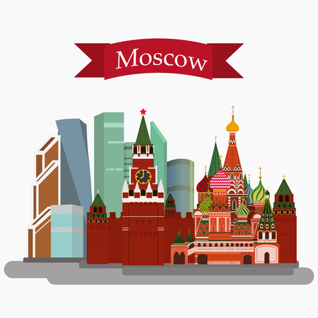 """Vector illustration of Sain Basil's Cathedral, Kremlin and Moscow-City isolated. With simple text """"Moscow"""".Flat Design."""