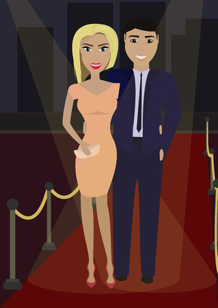formal dress: Elegant couple in formal dress on the red carpet in the spotlight. Vector illustration