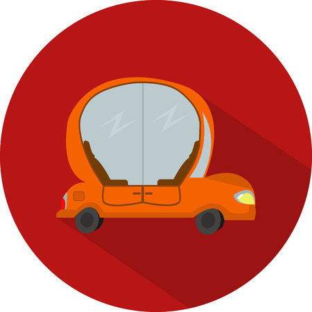 Vector flat design icon of car autopilot in red colour