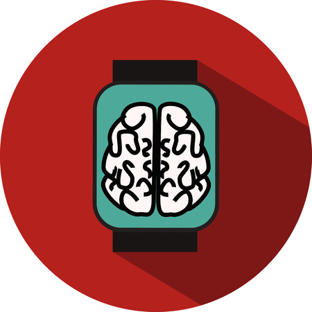 desing: Flat desing icon of watch on red background