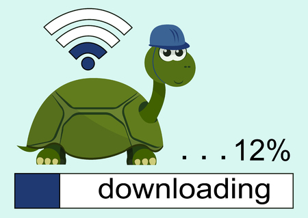 Żółw Cartoon ma na sobie kasku z uśmiechem na twarz. Pasek ładowania. Wi Fi Ikona. 12. Ilustracji wektorowych.