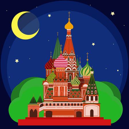 sain: Vector illustration of Sain Basils Cathedral at night. Flat Design. Illustration