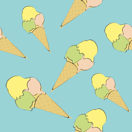 Pattern with the image of ice cream on blue background Illustration