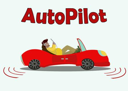 それを単純なテキストで白い背景に分離されたドライバーがなく移動の乗客と漫画赤い車